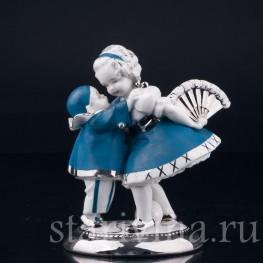 Фарфоровая статуэтка Девочка с веером и маленький пьеро, Германия, 1920-30 гг.