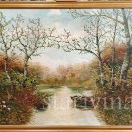 Картина маслом, пейзаж Лодка на берегу реки, Германия,, 1930 гг.