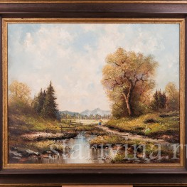 Картина маслом, пейзаж В окрестностях озера Майзингер, Германия,, 1980 г.