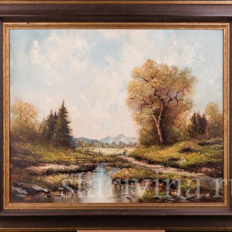 Картина маслом, пейзаж В окрестностях озера Майзингер, Германия, 1980 г.